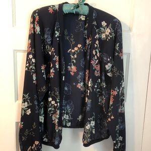 EUC Floral Zip Up Lightweight Jacket